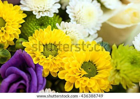 Bunch of bright colourful flowers. Background of flowers - stock photo