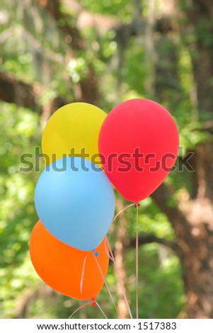 Bunch of Brightly Colored Balloons - stock photo