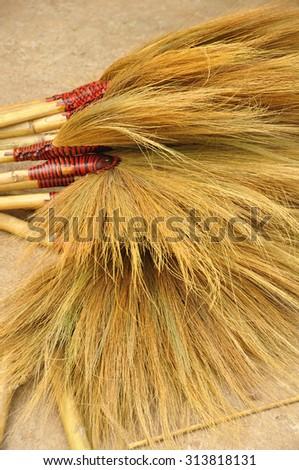 bunch of brooms - stock photo