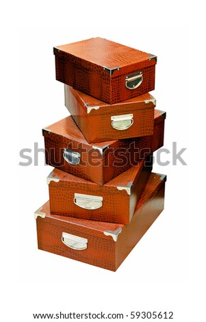 Bunch of brown boxes isolated included clipping path