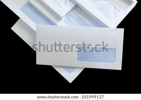 Bunch of Business Envelopes isolated on black