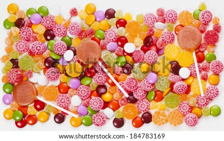 bunch of candies in different flavors and colors - stock photo