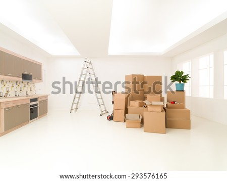 bunch of cardboard boxes stacked in new house. copy space available - stock photo