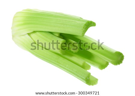 Bunch of Celery on White Background - stock photo