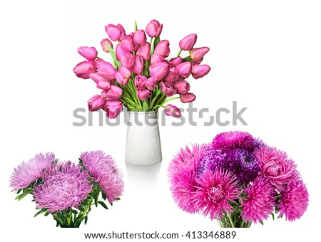 Bunch of cheerful elegant vivid light rose color tulips in porcelain bowl and needle gently asters isolated on light backdrop with clipping path. View close-up. Greeting card for women mother's day - stock photo