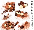 Bunch of chocolate pralines in collage - stock photo