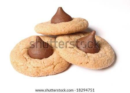 bunch of christmas cookies, isolated on white background - stock photo
