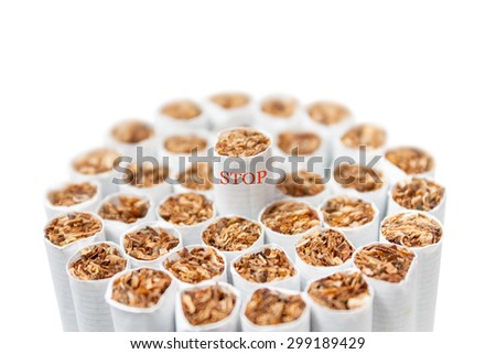 Bunch of cigarettes on a white background. Quit smoking