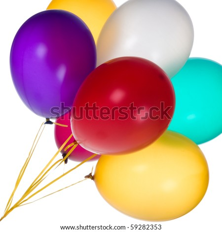 Bunch of colorful balloons against a white background. - stock photo