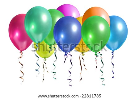 Bunch of colorful balloons rising up in the air isolated on white
