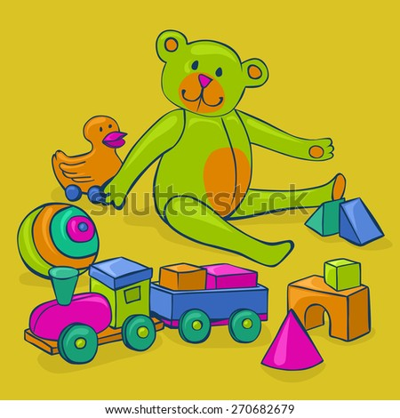 bunch of colorful, cute, classic kids toys - teddy bear, duck on wheels, building blocks, ball and wooden train - stock photo