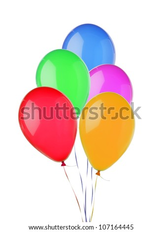 bunch of colorful flying balloons isolated on white background