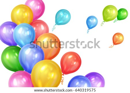 Bunch of colorful helium balloons isolated on white background. Party decorations for birthday, anniversary, celebration