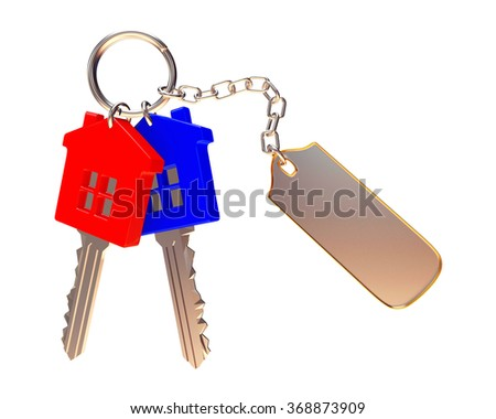 Bunch of colorful house-shape keys with blank label isolated on white background  - stock photo