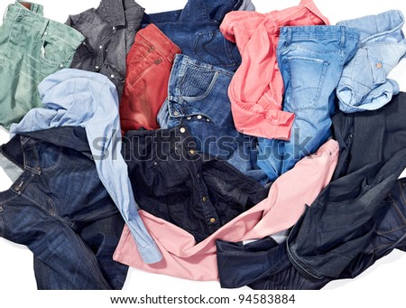 bunch of colorful jeans