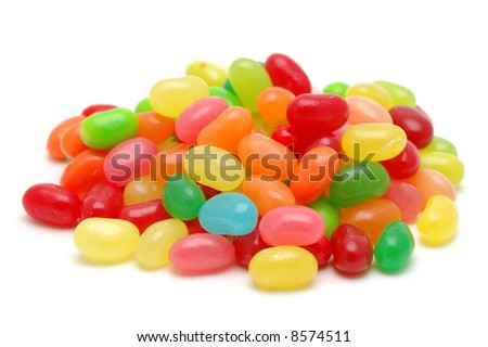 Bunch of colorful jelly beans in isolated white background - stock photo