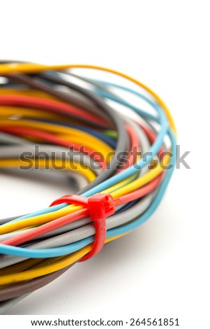 Bunch of colorful wires isolated on white - stock photo