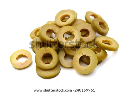 bunch of cut green olive rings on a white background  - stock photo