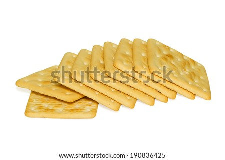 bunch of delicious crackers isolated on white background