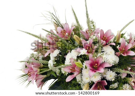 Bunch of different flowers. Pink lilies and white chrysanthemums.Isolated on white - stock photo
