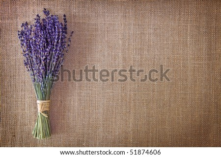 Bunch of dried lavender flowers on brown background - stock photo