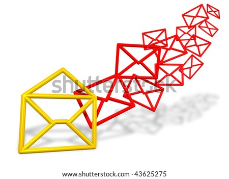 Bunch of email symbols flowing in