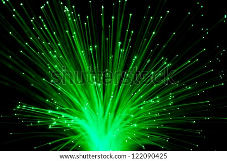 bunch of Fiber Optic dynamic flying from deep. - stock photo
