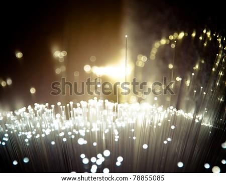 Bunch of fiber optics - stock photo