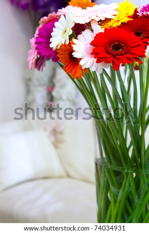 Bunch of flowers in a vase - stock photo