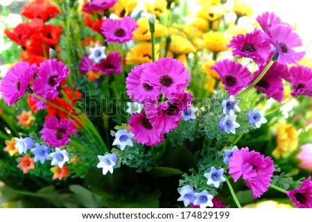 Bunch of flowers in garden - stock photo