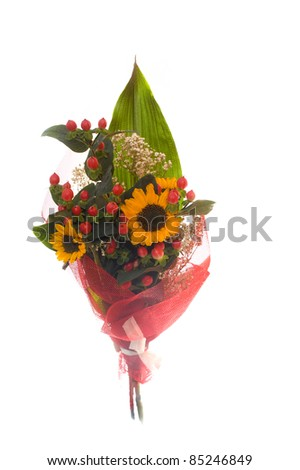 Bunch of flowers, isolated on white