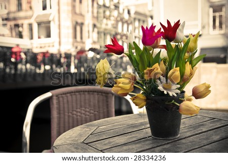 Bunch of  flowers on the table - stock photo