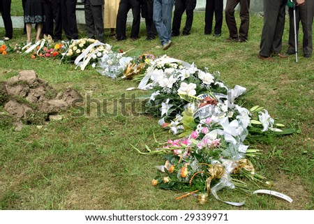 Bunch of flowers use for funeral, end one's life, endmost farewell - stock photo