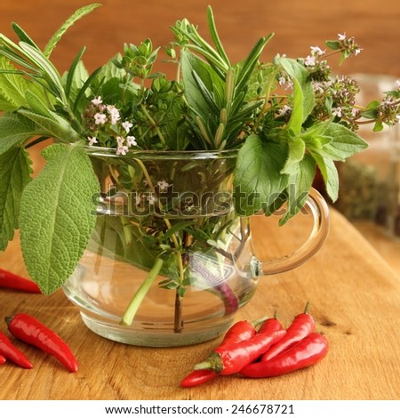 Bunch of fresh aromatic herbs in glass. - stock photo
