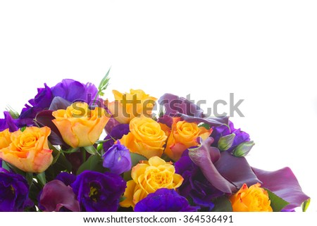 Bunch of fresh calla lilly, roses and eustoma flowers border isolated on white background - stock photo