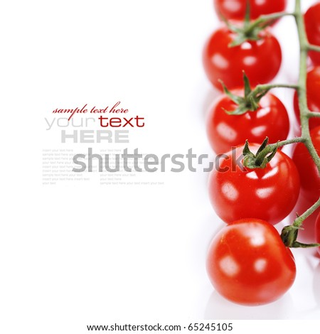 bunch of fresh cherry tomato on white background (with sample text) - stock photo
