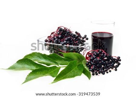 Bunch of fresh elderberries on white isolated background - stock photo