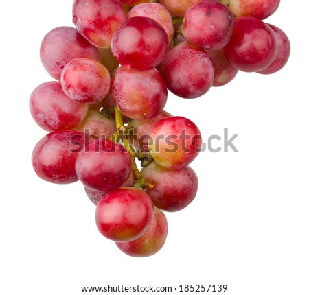 Bunch of fresh grapes isolated on white background - stock photo