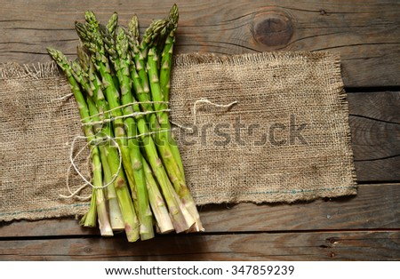 Bunch of fresh green asparagus spears on the table