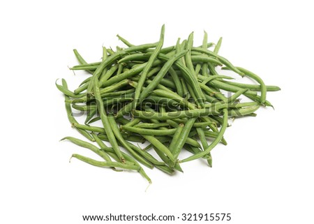 Bunch of fresh green beans isolated on white