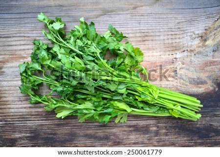 Bunch of fresh green parsley on wooden table