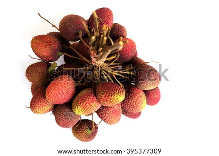Bunch of fresh lychee on white background, seen from top. - stock photo
