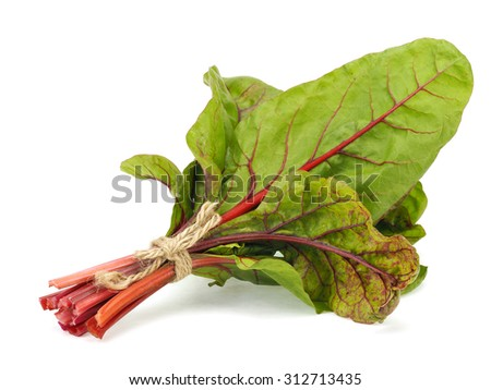 Bunch of fresh Mangold or Swiss chard leaves on a white background - stock photo
