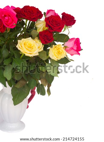 bunch of fresh multicolored  roses in vase close up   isolated on white background - stock photo