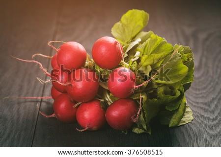 bunch of fresh organic radish on wood table - stock photo