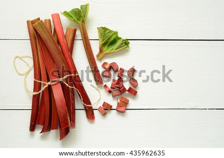 Bunch of fresh picked organic rhubarb stalks
