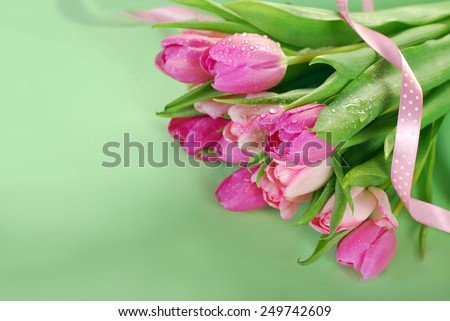 bunch of fresh pink tulips with water drops lying in the corner of green background - stock photo