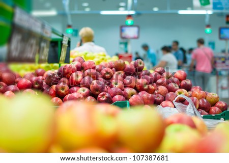 bunch of fresh red apples in supermarket - stock photo