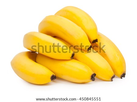Bunch of fresh, ripe bananas isolated on white background - stock photo