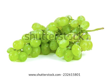 Bunch of fresh ripe grapes on white background with clipping path - stock photo